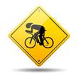 Señal amarilla bicicleta carreras
