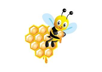 cute bee and beehive