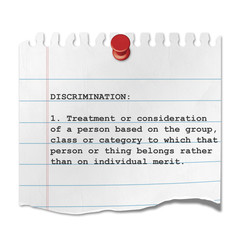 Recorte de papel texto DISCRIMINATION
