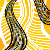 Yellow grunge tire track background