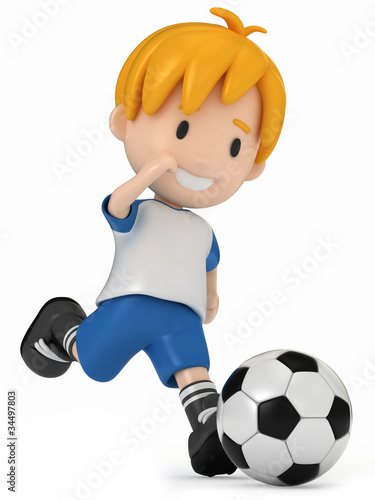 3D Render of Kid kicking Soccer Ball