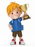 3D Render of Kid with Trophy
