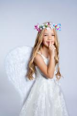 Angel children little girl sleeping finger in mouth