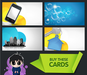 set of modern business cards with extra bonus elements