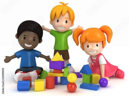 3D Render of kids Playing Building Blocks