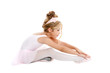 Ballerina little ballet children dancer stretching sitting
