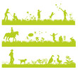 green landscape banners with people and animals