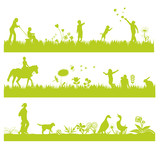 Fototapety green landscape banners with people and animals