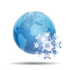 Esfera brillante planeta con simbolo frio