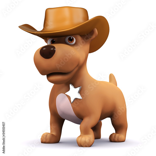 Spoed canvasdoek 2cm dik Wild West 3d Dog is the sheriff of the town