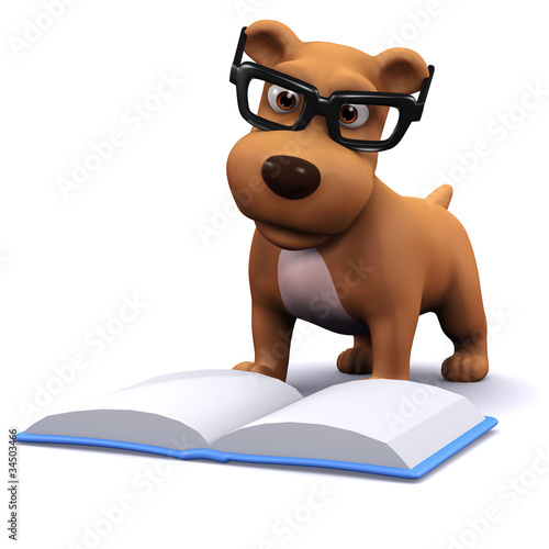 3d Dog likes to read books