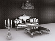 Royal furniture in Baroque interior. Sofa with pillows and table