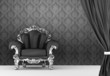 Opened curtain with  baroque armchair on wallpaper background. I