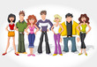 Group cartoon teenage people