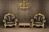 Armchairs with gold frame in old interior. Luxurious furniture. - 34504848