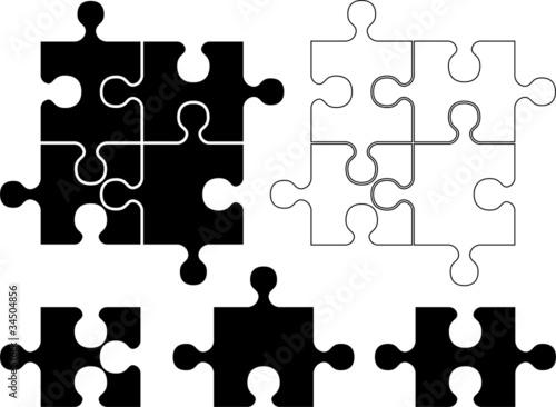 puzzle pieces. stencil