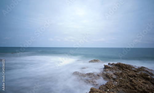 Long exposure photo of sea on rocks