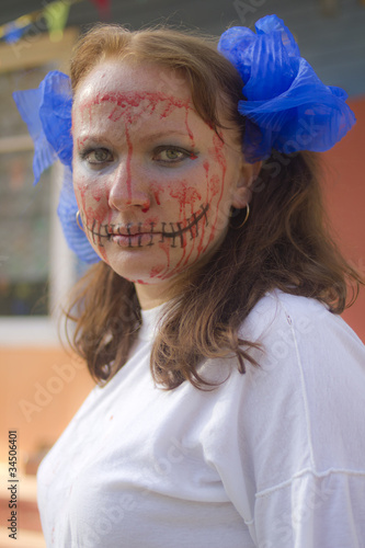 Closup portrait of girl with creative Halloween make-up