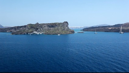 Santorini island view from ship 2