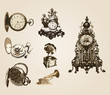 vector ancient clocks old vintage antique retro