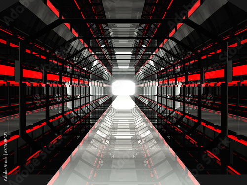 Dark red futuristic corridor