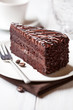 Piece of dark chocolate cake