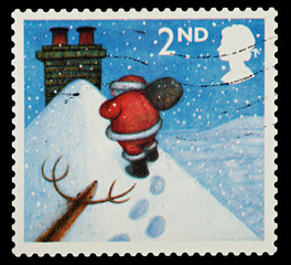 Christmas Postage Stamp showing Santa Claus
