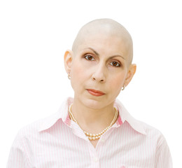 Portrait of bold woman - real cancer patient