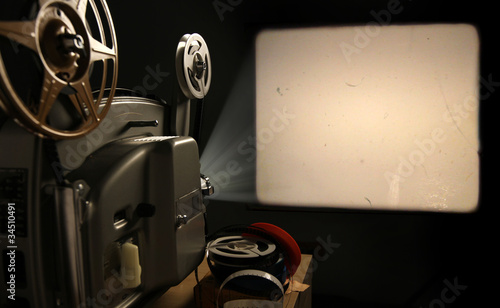 Film Projector with Blank Frame - 34510491
