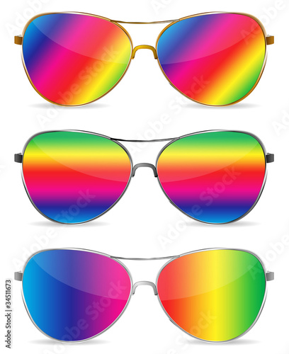 abstract rainbow sunglasses isolated on white background