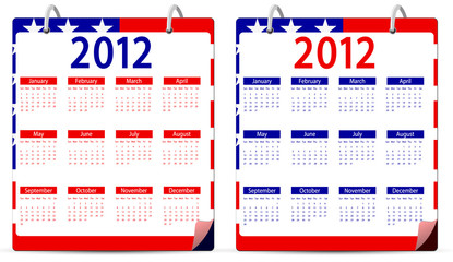 set of america 2012 calendar isolated on white background