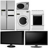 Set of of household appliances. vector poster