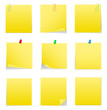 Vector Yellow Post-it Notes with Push Pins and Clips