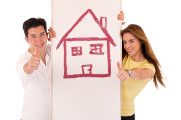 Junge Menschen mit Eigenheim