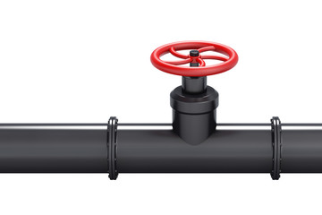 Black oil pipe with red valve