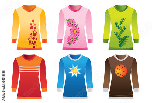 Set of vector T-shirts with graphics for men and women
