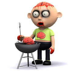 3d Zombie having a brain barbecue