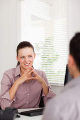 Businesswoman discussing with a man