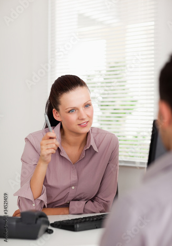 Businesswoman talking to someone