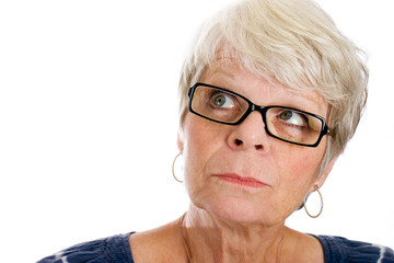 Mature woman looking into a memory