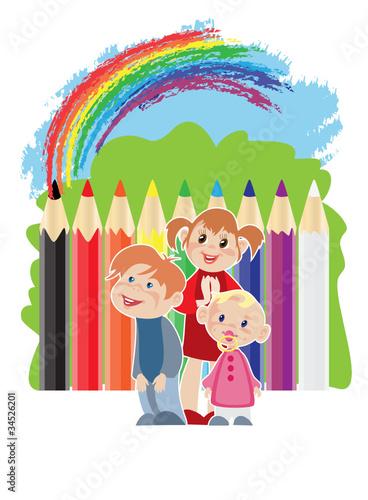 Deurstickers Regenboog Childhood