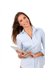 Portrait of beautiful young woman using electronic tablet