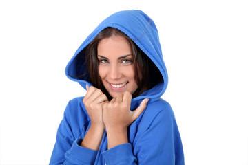 Portrait of beautiful teenager wearing blue sweater