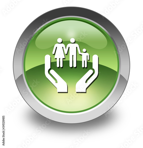 "Green Glossy Pictogram ""Social Services"""