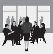 Business or college meeting, greyscale