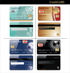 credit cards, front and back view