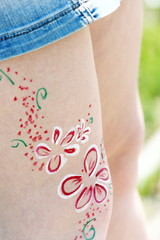 Body art flowers on a girl body