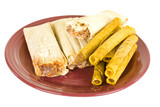 Frozen Tamales And Tacos On Ceramic Plate