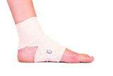 injured ankle with bandage poster