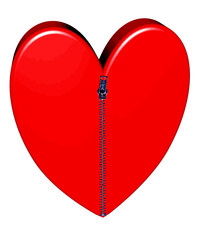 Red heart closed with pulled up zipper